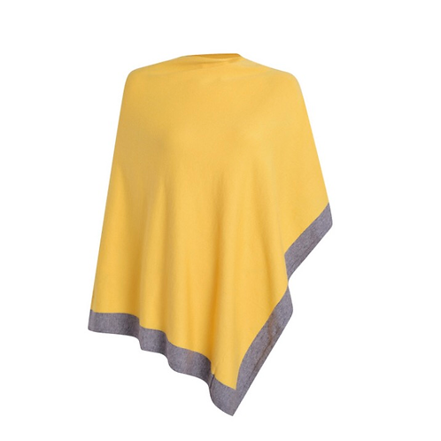 Border Stripe  Poncho - Mustard Yellow/Grey