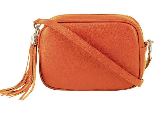 Lila Leather Cross Body Bag - Burnt Orange