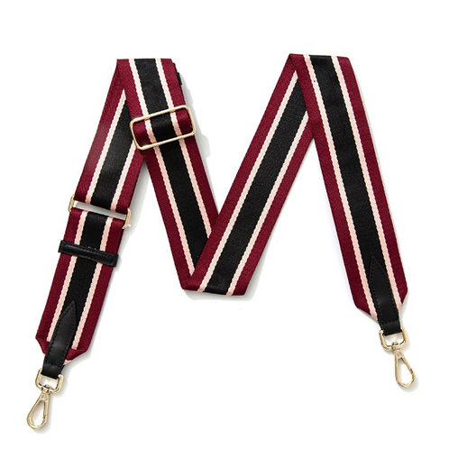 Multi Stripe Bag Strap -  Black