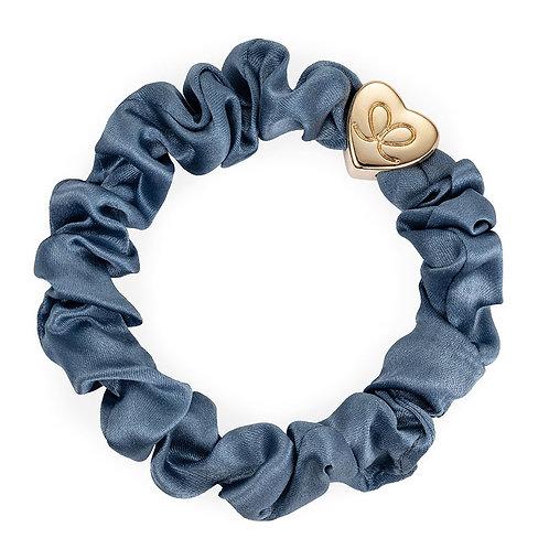 Silk Scrunchie - Denim Blue / Gold Heart