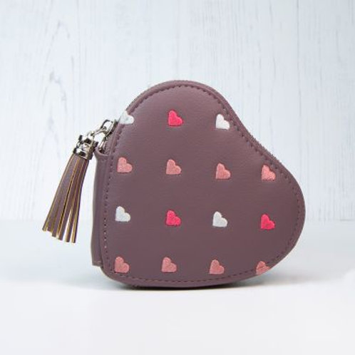 Mulberry Heart Shaped Embroidered Purse