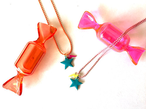 Candy Lightning Star Necklace - Turquoise Blue Star