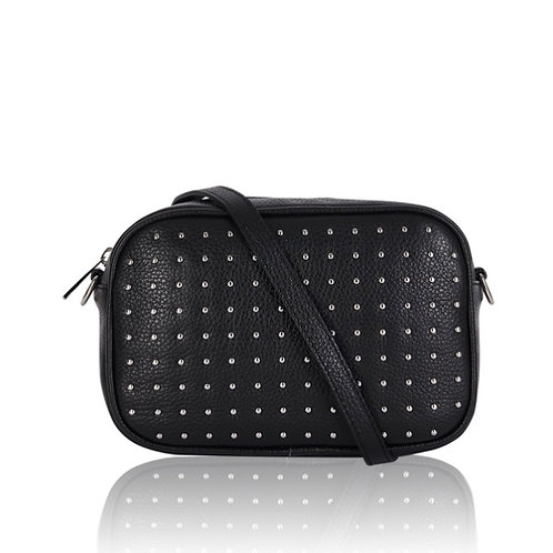 Eden Leather Cross Body Bag - Black / Silver
