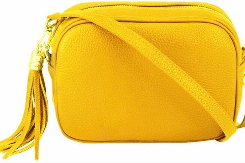 Lila Leather Cross Body Bag -  Yellow