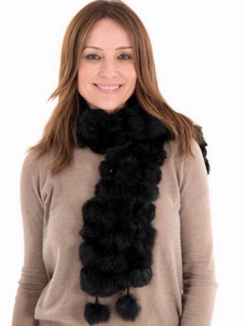 Faux Fur Pom Pom Scarf - Black
