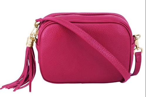 Lila Leather Cross Body Bag - Fuschia