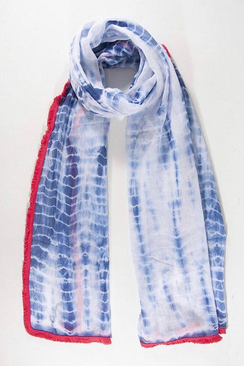 Fringe Tie Dye Scarf - Blue / Coral