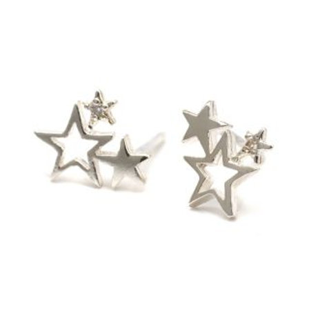 Sterling Silver Star Cluster Stud Earrings
