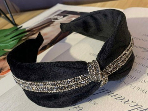 Black Velvet Hairband with Mixed Metal Crystals