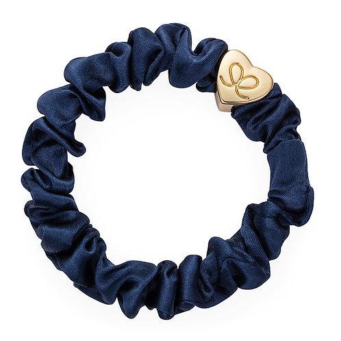 Silk Scrunchie - Navy Blue / Gold