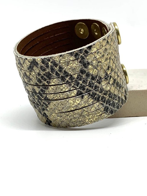 Wide Leather Cuff -  Snakeprint