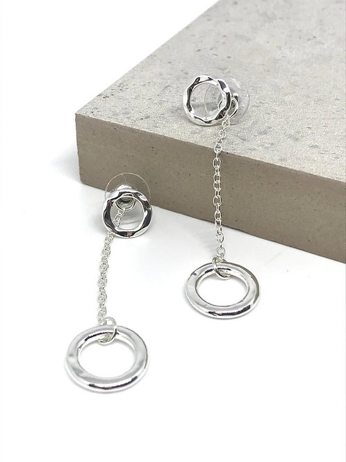 Two Way Circle Earrings - Silver