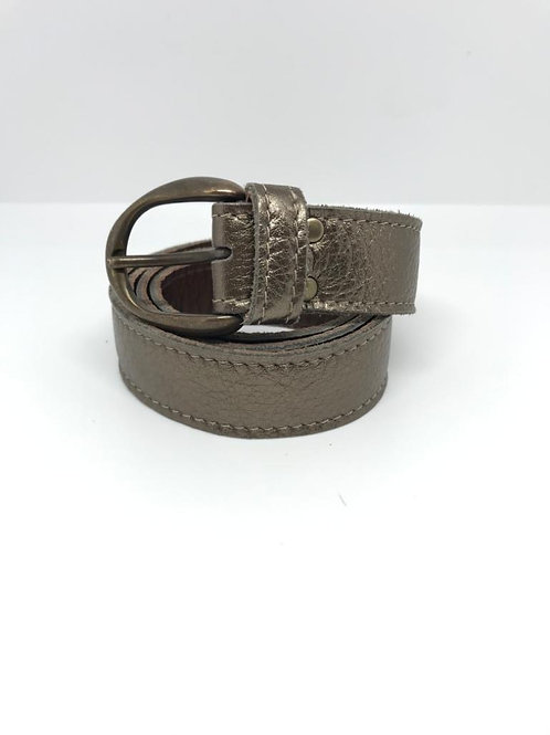 Leather Belt - Metallic Gold