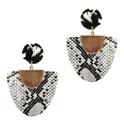 Snake Print Drop Earrings - White
