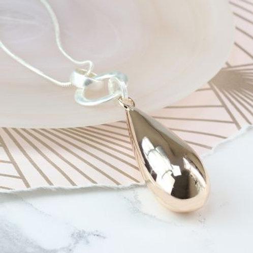 Long Teardrop Pendant Necklace - Rose Gold
