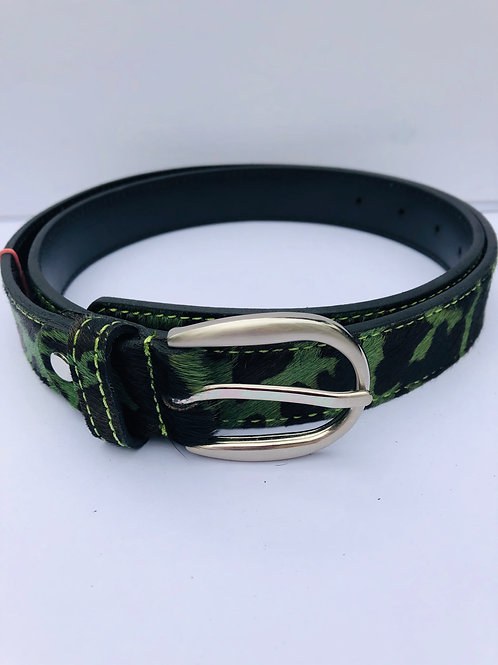 Leather Camo Print Belt