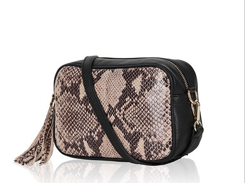 Jade Leather  Bag -  Taupe Snake Print