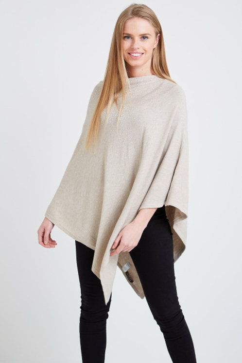 Scattered Stud Poncho - Neutral/Oatmeal
