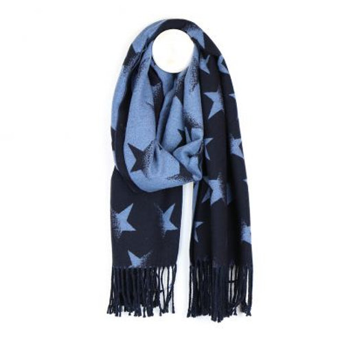 Reversible Star Scarf - Blue