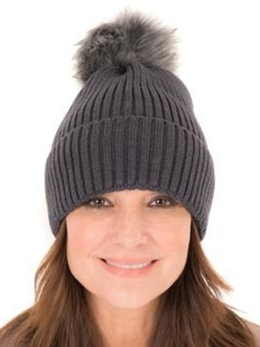 Rib Knit Beanie - Grey