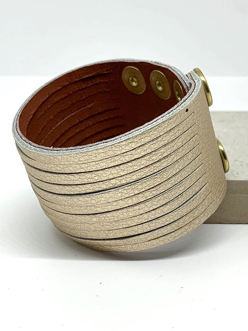 Wide Leather Cuff -  Light Gold