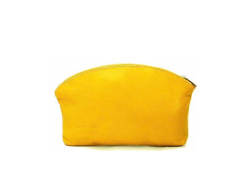 Leather Pouch / Make - up Bag - Yellow