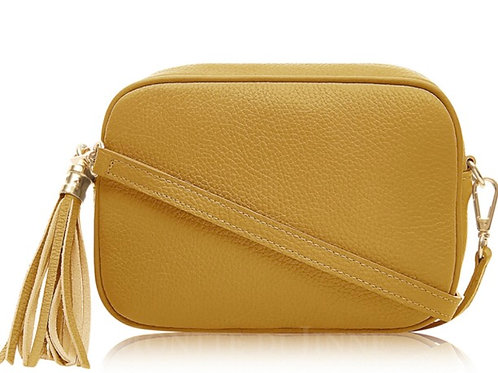 Lila Leather Cross Body Bag -  Mustard Yellow