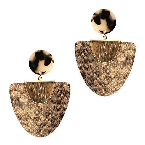 Snake Print Drop Earrings - Brown
