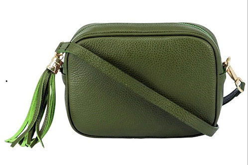 Lila Leather Cross Body Bag -  Olive Green