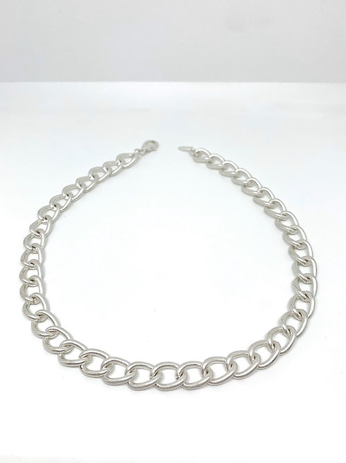 Short Rounded Chain Necklace - Silver