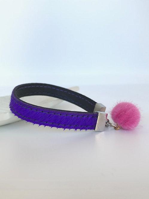 Hairy Leather Bracelet - Purple with Pink Pom Pom
