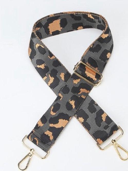 Leopard Print Bag Strap - Grey