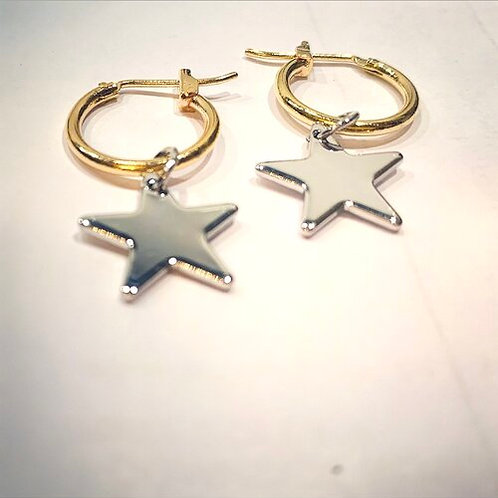 Gold Huggie Hoops with Silver Stars