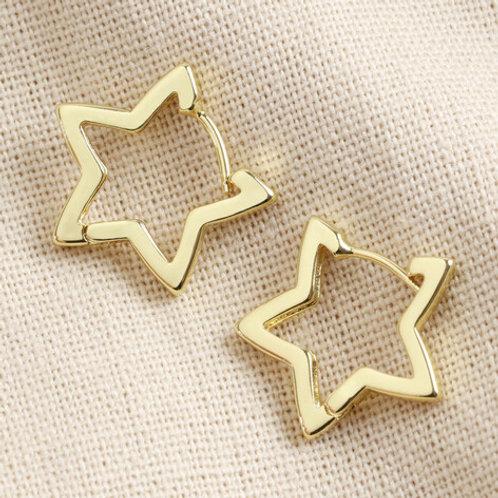 Star Hoop Earrings - Gold