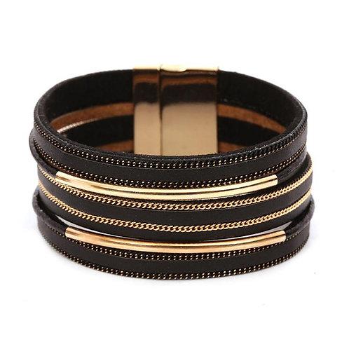 Magnetic Layered Bracelet - Black