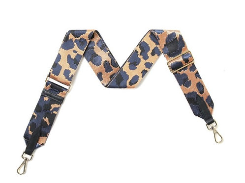 Leopard Print Bag Strap -  Orange / Navy Blue