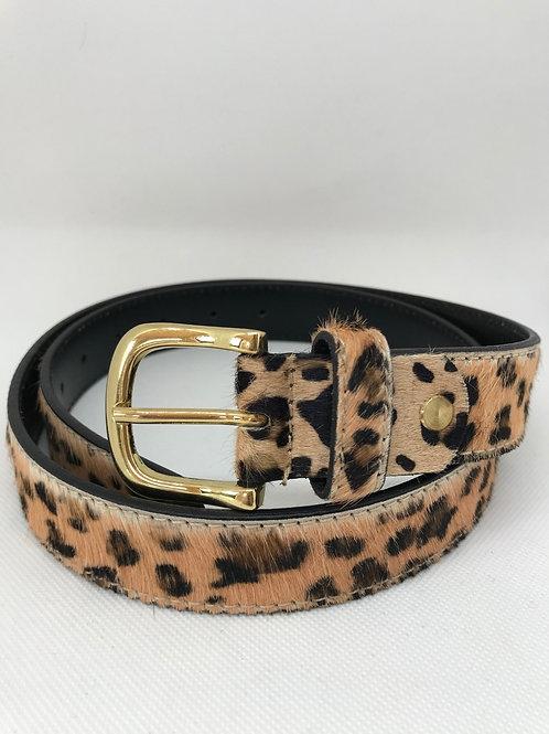 Leather Leopard Print Belt
