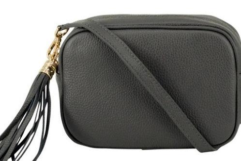 Lila Leather Cross Body Bag - Dark Grey