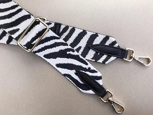 Zebra Print Bag Strap - Black / White