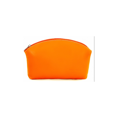 Leather Pouch / Make - up Bag - Orange