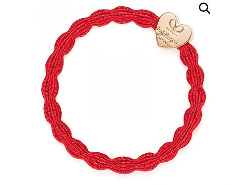 By Eloise Bangle Band - Metallic Red  / Gold Heart
