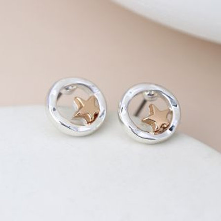 Disc Rose Gold Star Earrings - Silver Plated