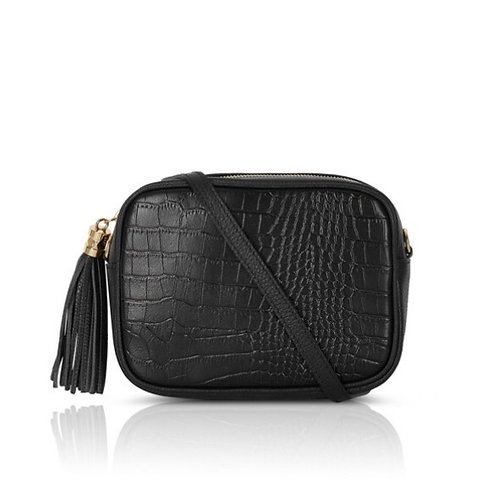 Esme Croc Leather Bag -  Black