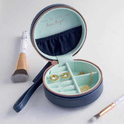 Mini Round Travel Jewellery Case - Navy