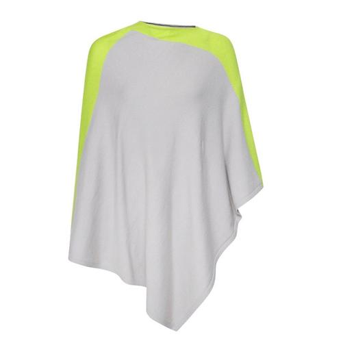 Shoulder Stripe Poncho - Grey/Yellow