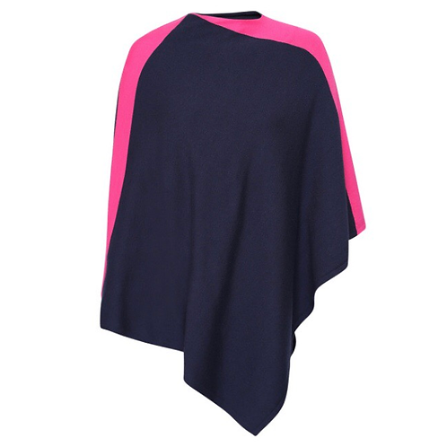 Shoulder Stripe Poncho - Navy / Fuschia