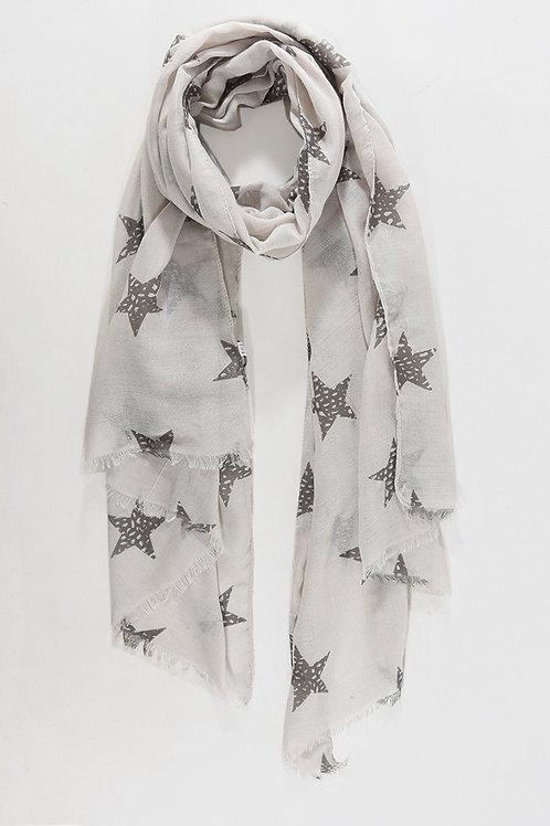 Metallic Star Scarf - Light Grey / Silver