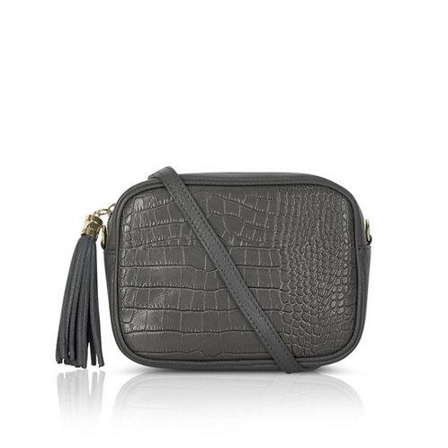 Esme Croc Leather Bag -  Dark Grey