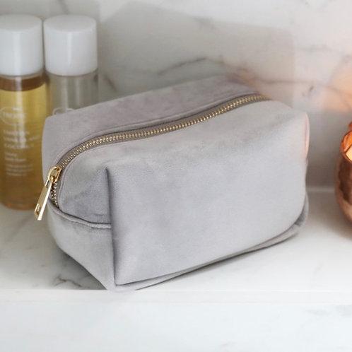 Velvet Make Up Bag - Grey