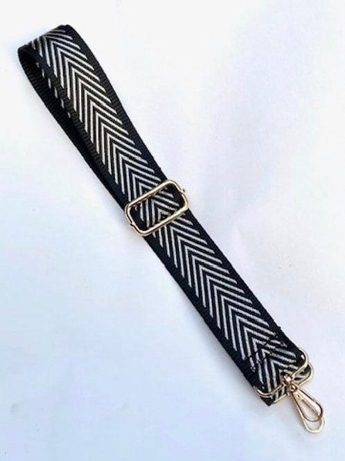 Black /Silver Chevron Bag Strap